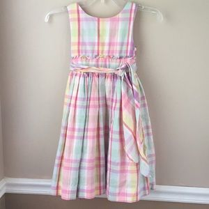 Girls Striped Plaid Pastel Ralph Lauren Dress Sz 6